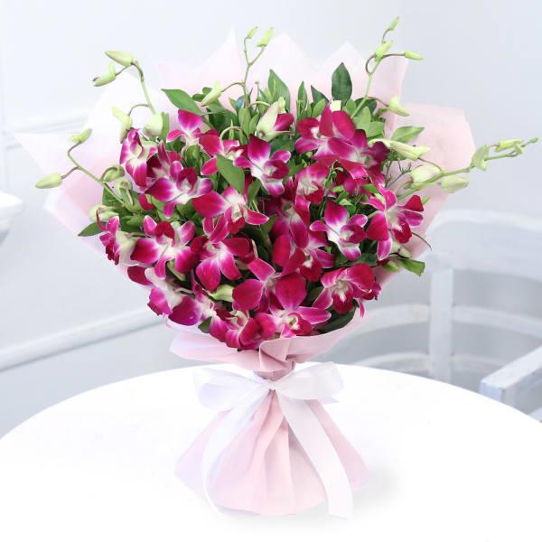 Bouquet of Six Purple Orchids