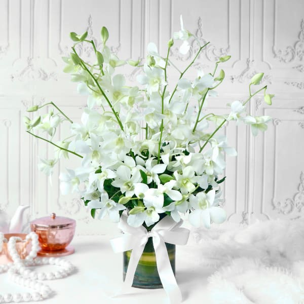 Bouquet of White Orchids in Glass vase (10 Stems)