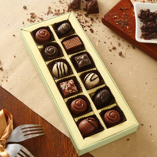 Box Of 12pc Assorted Homemade Chocolates Gift Send Gourmet Gifts Online Hd1060744 Igp Com