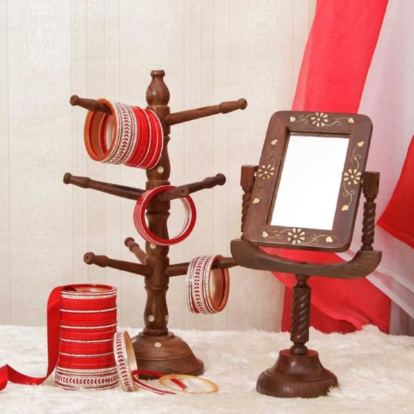 Bridal Chura With Wooden Bangle Stand & Vanity Mirror: Gift/Send