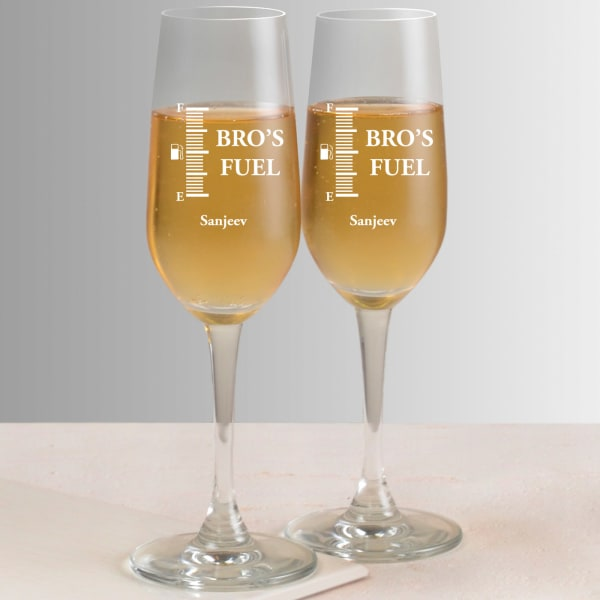 Bro Personalized Champagne Flutes (Set of 2)