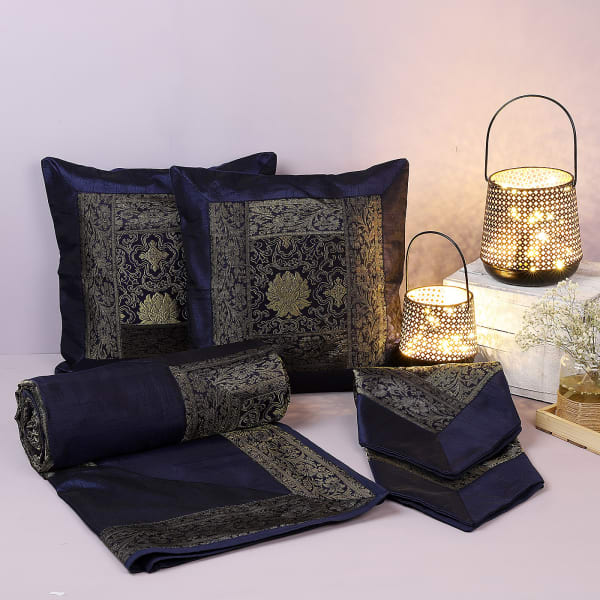 Brocade Silk Bedcover Set With Decorative Diwali Lanterns