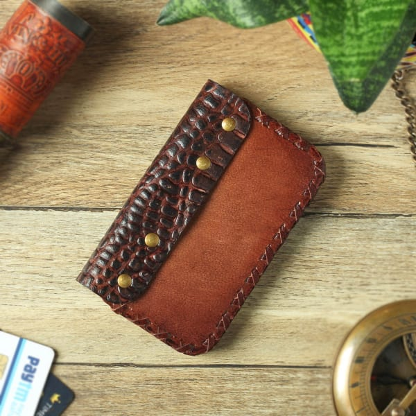 Brown Croc Embossed Leather Card Holder