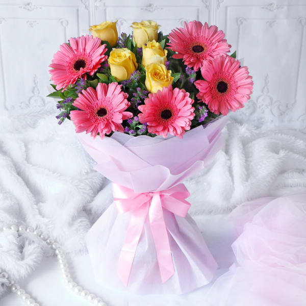 Bunch of 10 Mix Flower in Tissue Wrapping