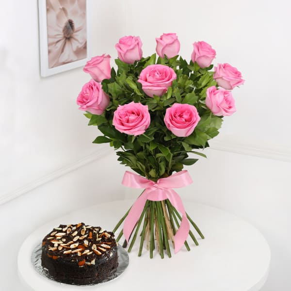 Bunch of 10 Pink Roses with Whole Wheat Zucchini Chocolate Cake (Half Kg)