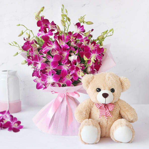 Bunch of 10 Purple Orchids with 12 Inches Teddy