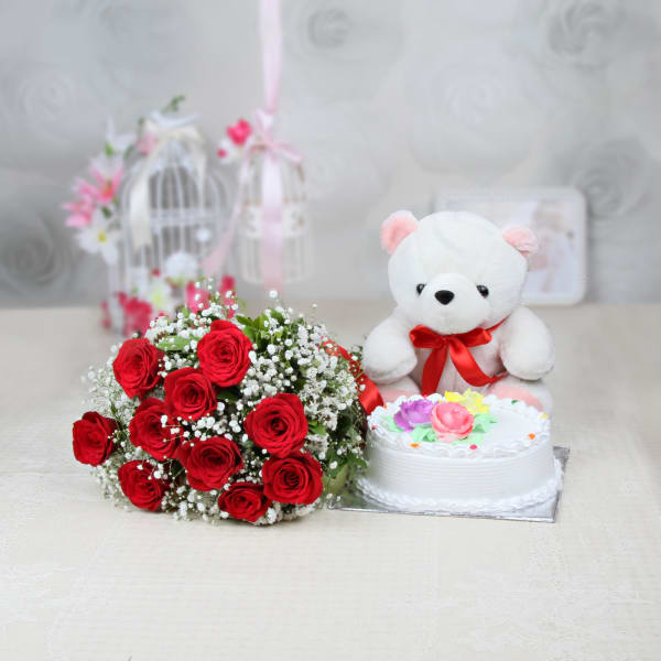 Bunch of 10 Red Roses with Half Kg Vanilla Cake & 12 Inches Teddy