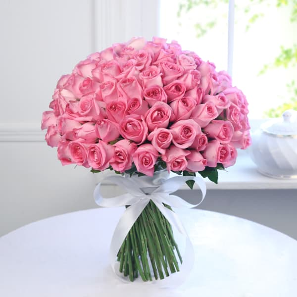 Bunch Of 100 Pink Roses Order Flowers Onlinehd1061186 Igp