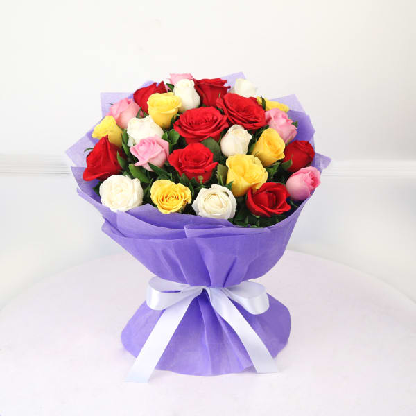 Bunch of 25 Assorted Colour Roses