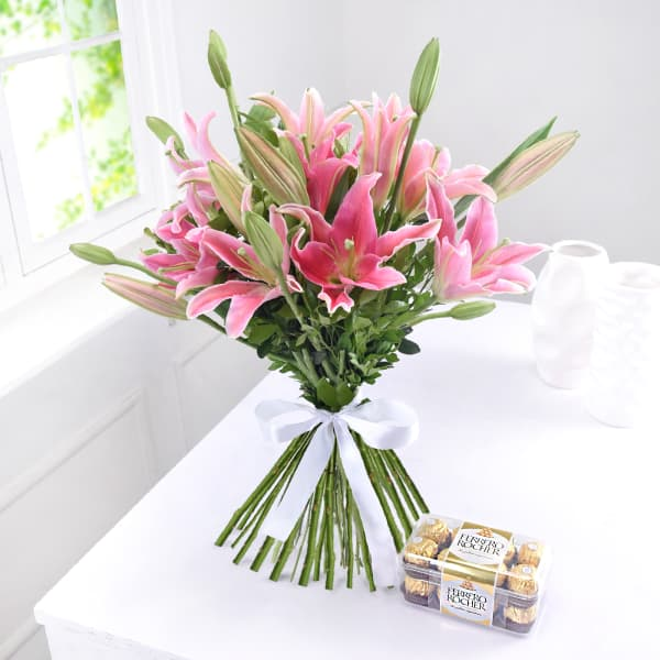 Bunch of 6 Pink Lilies with 16pc Ferrero Rocher