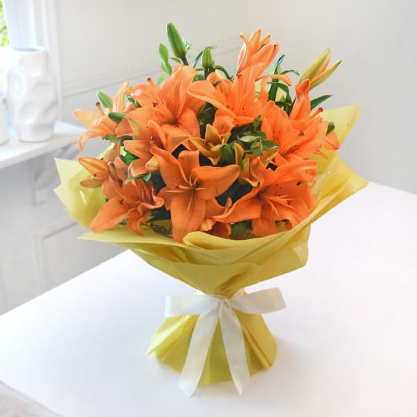 Bunch of Beautiful Orange Asiatic Lilies