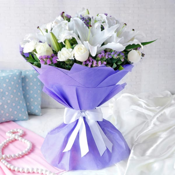 Bunch of Mix Flowers In Tissue Wrapping
