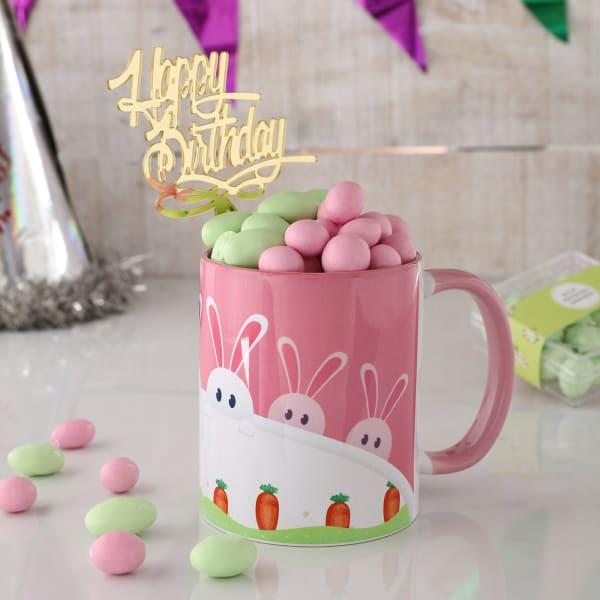 Bunny Mug With Dragees For Birthday