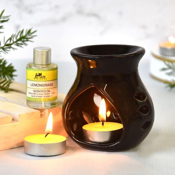 Burner and Tea Light Candle Set - Lemongrass