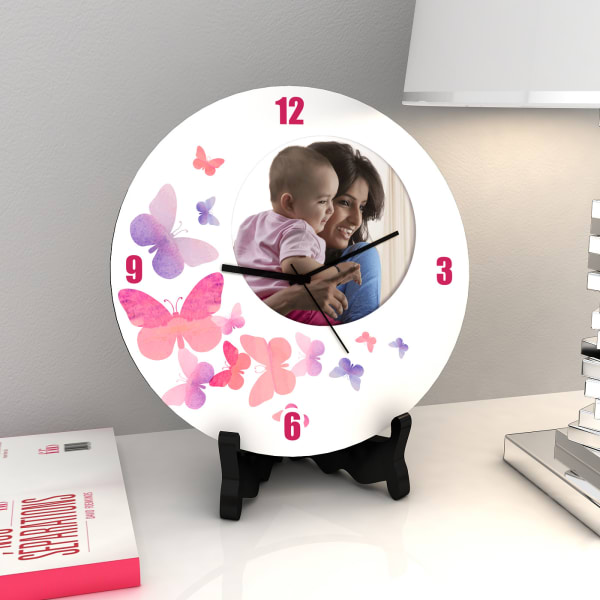 Butterfly Print Personalized Clock