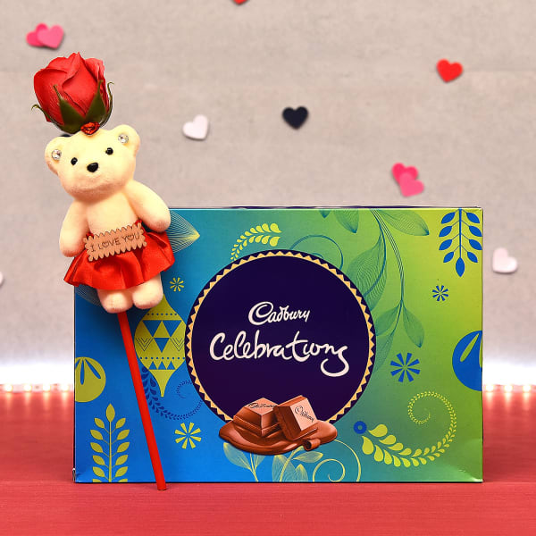 Cadbury Celebrations Pack with I Love You Rose Teddy