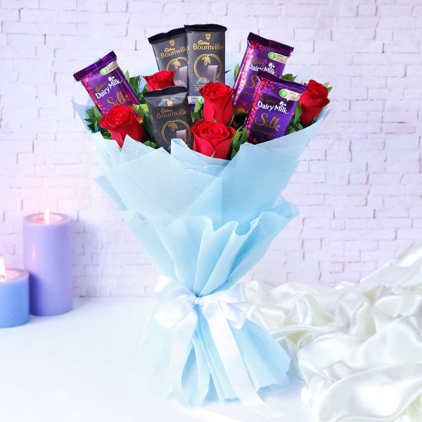 Cadbury Chocolates with Red Roses Bouquet