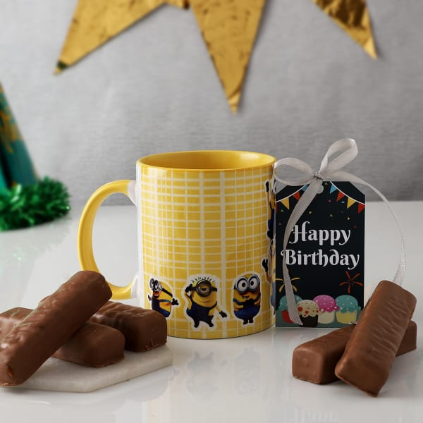 Cartoon Mug With Chocolates For Birthday