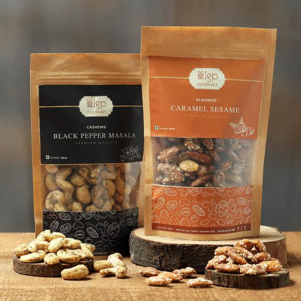 Cashews Black Pepper Masala and Almonds Caramel Sesame Combo