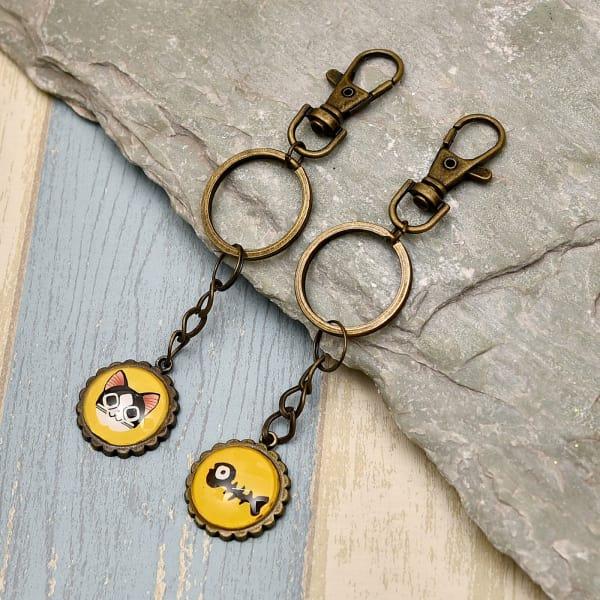 Cat & Fish Design Key Chain Set