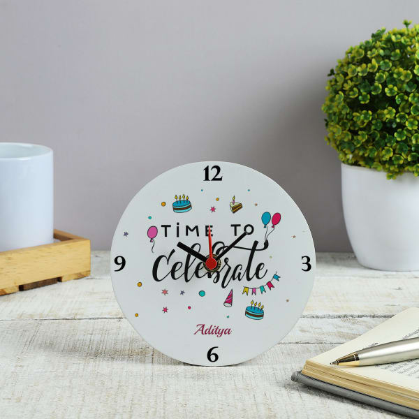 Celebrations Personalized Wooden Table Clock