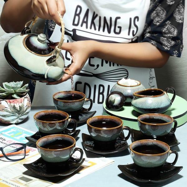 Ceramic Tea Set with Milk Jug & Sugar Pot