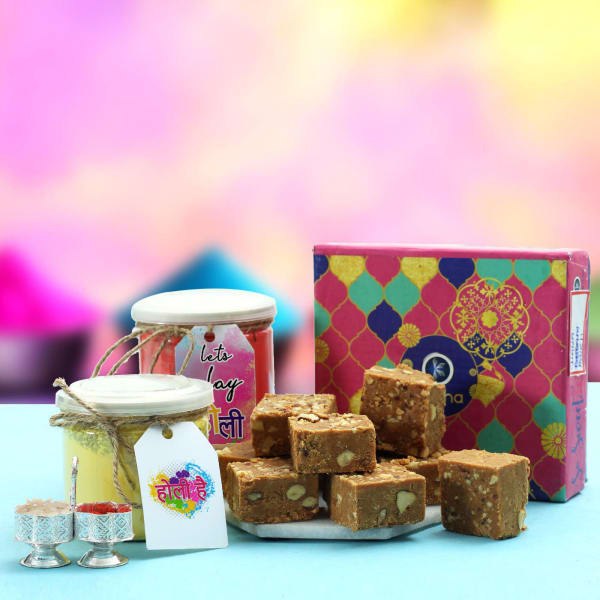 Chana Badam Barfi with Gulal in Jars & Silver-plated Container