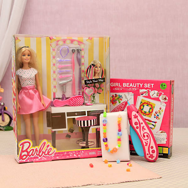 50fcc6a0124 Charming Barbie Doll & Girl Beauty Set: Gift/Send Toys and Games ...
