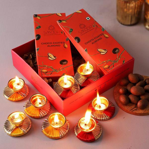 Chocolate Almonds And Diyas Gift Tray