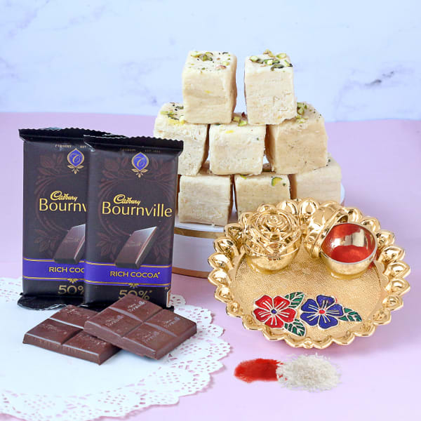 Chocolate Bars with Soan Papdi & Pooja Thali