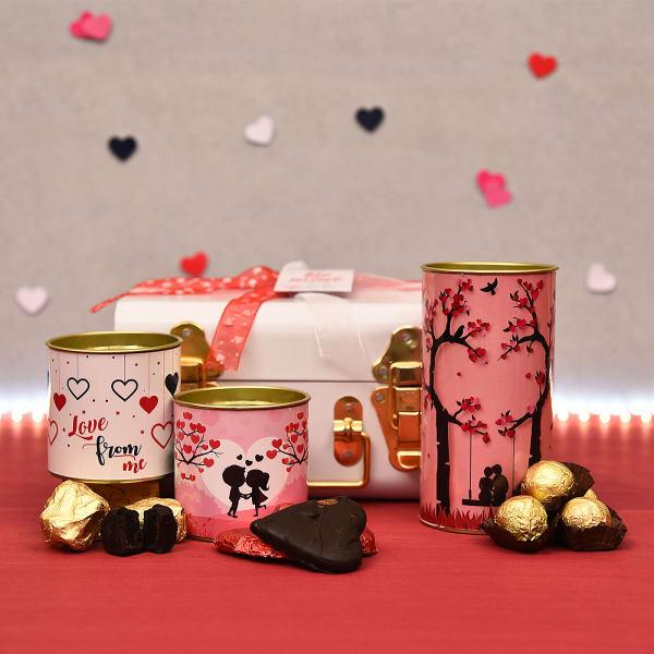 Chocolate Hamper in White Tin Box