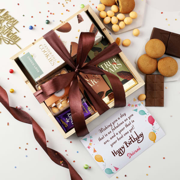 Chocolates And Dragees In Wooden Tray With Personalized Birthday Card