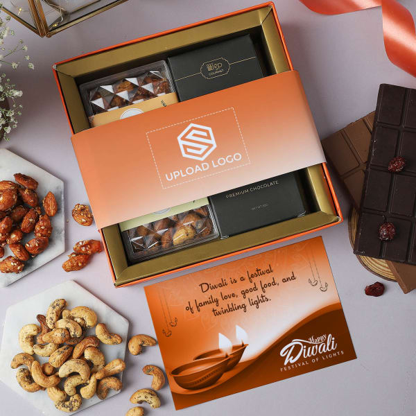 Chocolates And Flavoured Dry Fruits Hamper - Customized With Logo