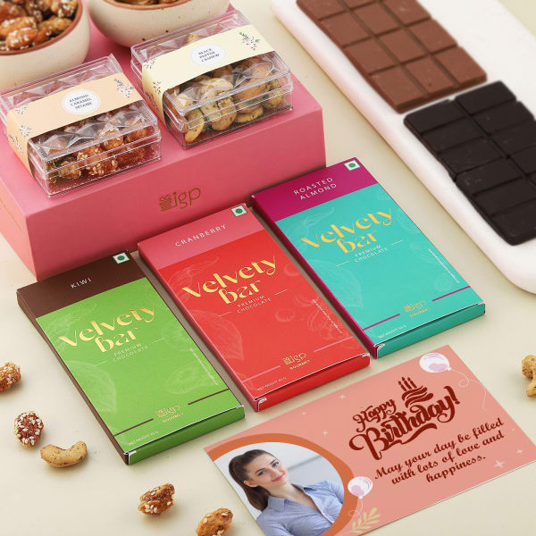 Chocolates And Flavoured Dry Fruits With Personalized Birthday Card