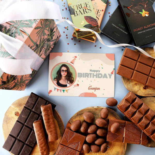 Chocolicious Hamper With Personalized Birthday Card