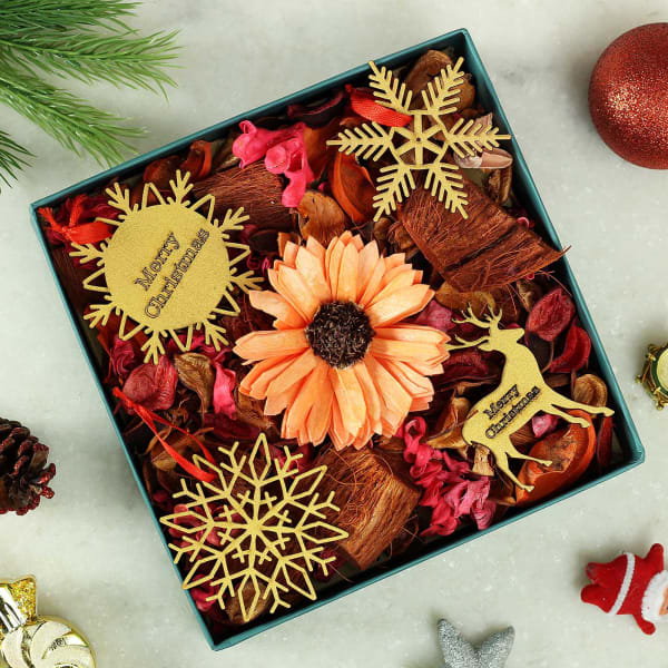 Christmas Ornaments & Dry Flowers in Gift Box