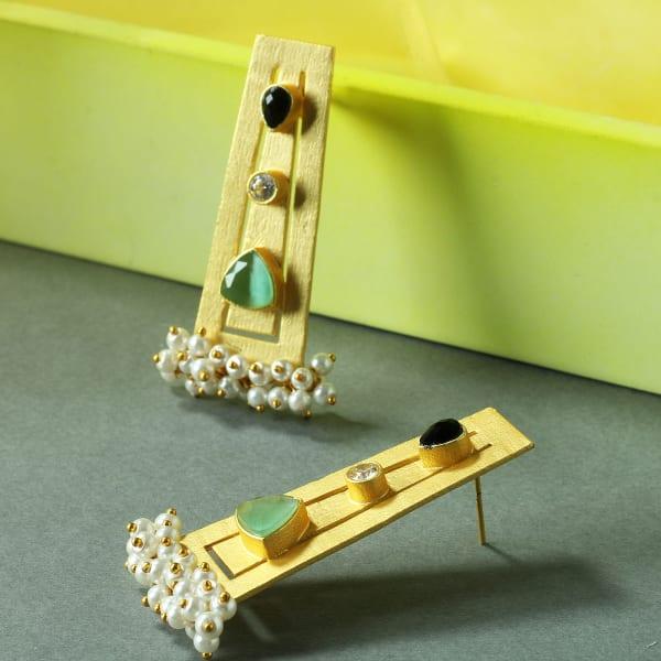 Chromium Plated Handmade Pearl & Stone Studded Earrings