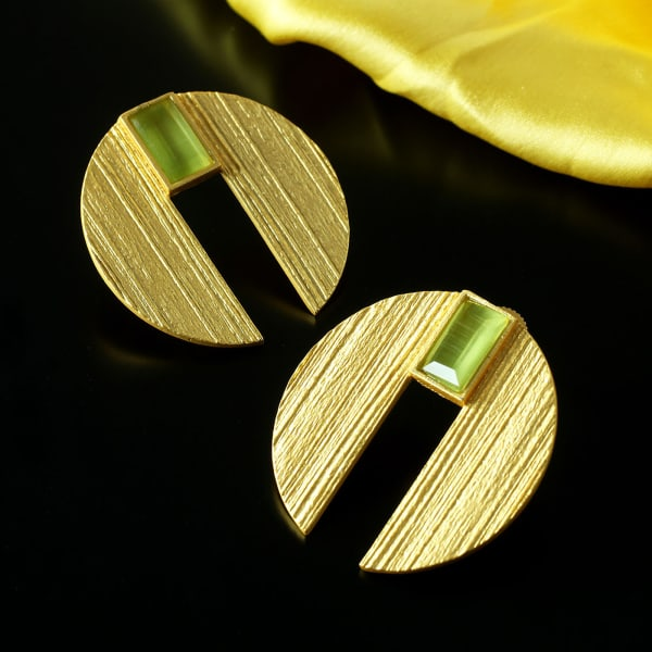 Chromium Plated Handmade Stone Studded Earrings
