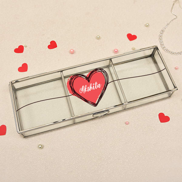 Classic Personalized Three Sectional Nickel Framing Glass Jewellery Box