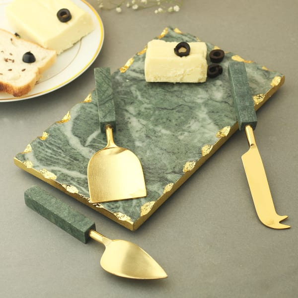 Classy Green Marble Cheese Board And Knives Set