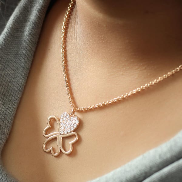 Clover of Hearts Studded Pendant Necklace