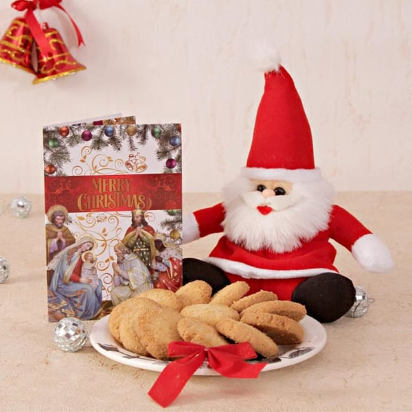 Coconut Butter Cookies With Santa Teddy And Christmas Card