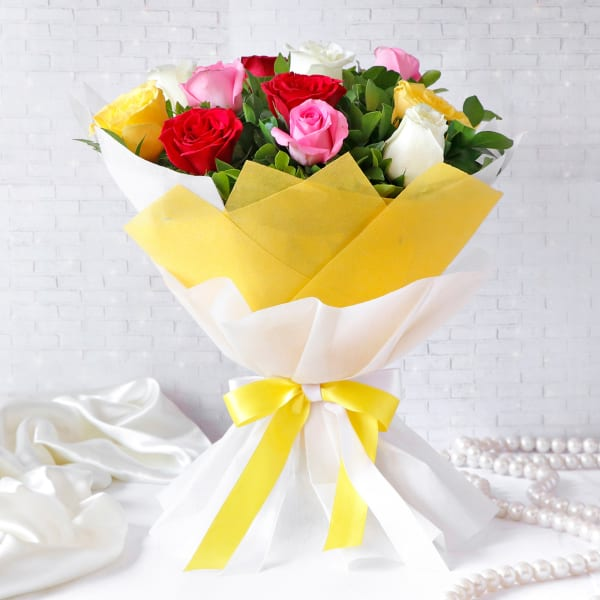 Colorful Assorted Roses Flower Bouquet