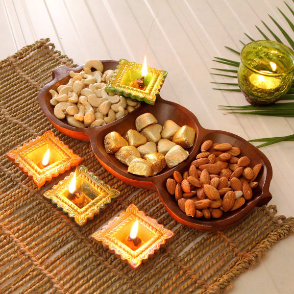 Colorful Diya Set with Homemade Chocolates & Dryfruits in Wooden Platter