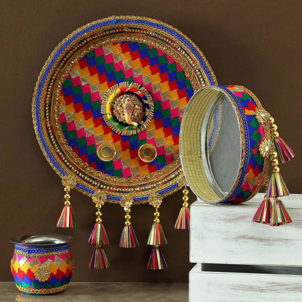 Colorful Fabric Work Karwa Chauth Thali Set