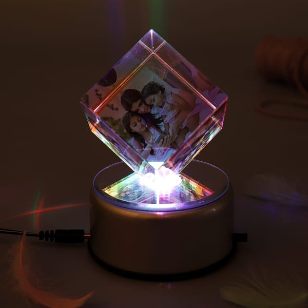 252690f244e Colorful Personalized Rotating Crystal Cube with LED: Gift/Send Home ...