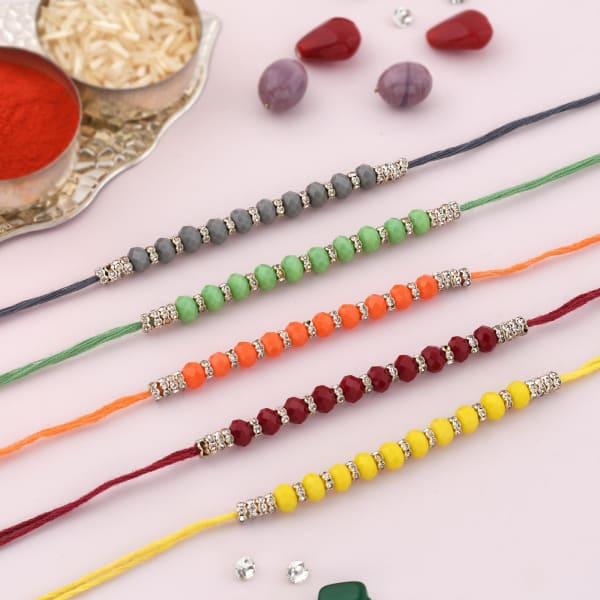 Colourful Beads And CZ Rakhi (Set of 5)