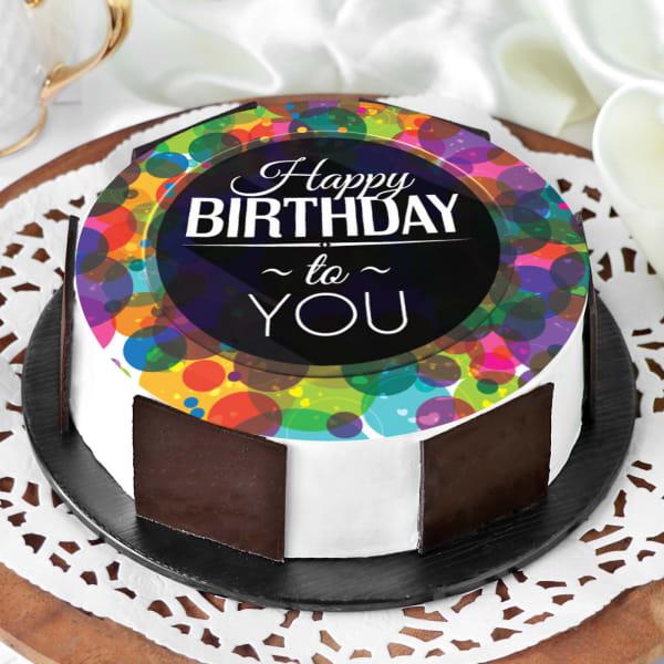 Colourful Birthday Wishes Cake (Half Kg)