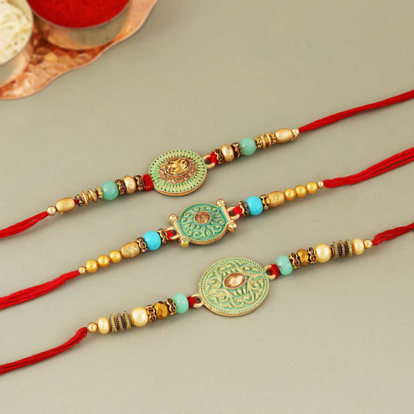 Colourful Meena Work Stone Rakhi (Set of 3)