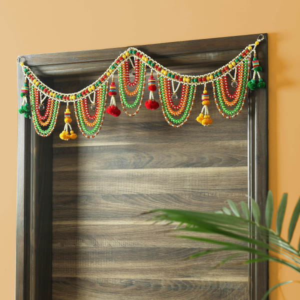 Colourful Pompom & Beads Traditional Toran